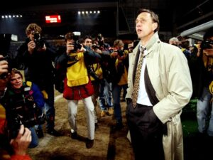 18 Mar 1996: Portrait of Barcelona Coach Johan Cruyff before the UEFA Cup match against PSV Eindhoven at the Philips Stadion in Eindhoven, Holland. Mandatory Credit: Gary M Prior/Allsport