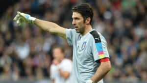 Italy goalkeeper Gianluigi Buffon during a friendly soccer match between Germany and Italy at the Allianz Arena in Munich, southern Germany, Tuesday, March 29, 2016. (ANSA/AP Photo/Kerstin Joensson)