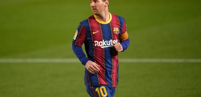 Mandatory Credit: Photo by Bagu Blanco/Pressinphoto/Shutterstock 11871538an Lionel Messi of FC Barcelona, Barca FC Barcelona v Getafe CF, LaLiga Santander, date 31. Football, Camp Nou Stadium, Barcelona, Spain - 22 APR 2021 EDITORIAL USE ONLY No use with unauthorised audio, video, data, fixture lists outside the EU, club/league logos or live services. Online in-match use limited to 45 images 15 in extra time. No use to emulate moving images. No use in betting, games or single club/league/player publications/services. FC Barcelona v Getafe CF, LaLiga Santander, date 31. Football, Camp Nou Stadium, Barcelona, Spain - 22 APR 2021 EDITORIAL USE ONLY No use with unauthorised audio, video, data, fixture lists outside the EU, club/league logos or live services. Online in-match use limited to 45 images 15 in extra time. No use to emulate moving images. No use in betting, games or PUBLICATIONxINxGERxSUIxAUTXHUNxGRExMLTxCYPxROMxBULxUAExKSAxONLY Copyright: xBaguxBlanco/Pressinphoto/Shutterstockx 11871538an