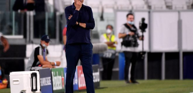 Maurizio Sarri coach of Juventus reacts during the Champions League round of 16 second leg football match between Juventus FC and Lyon at Juventus stadium in Turin Italy, August 7th, 2020. Photo Federico Tardito / Insidefoto federicoxtardito